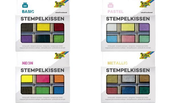 folia Stempelkissen Set Pastell, 6-farbig sortiert