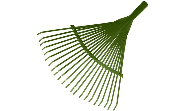 Bradas Fächerrechen-Aufsatz, aus Metall, 22 Zinken, grün