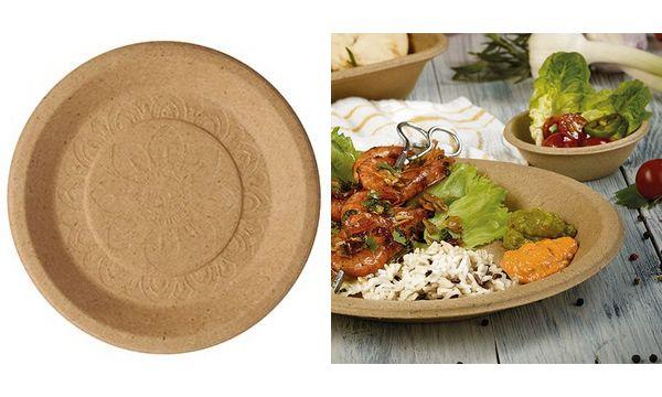 PAPSTAR Teller aus Agrar-Resten pure, rund, 255 mm, natur