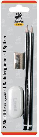 Bleistift HB mit Radierer und Spitzer 4-tlg Linea
