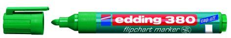 #10xEdding Flipchart Marker Cap-Off 380 Grün Rundspitze