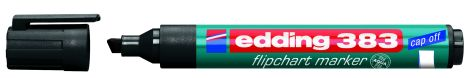 #10xEdding Flipchart Marker Cap-Off 383 Schwarz Keilspitze