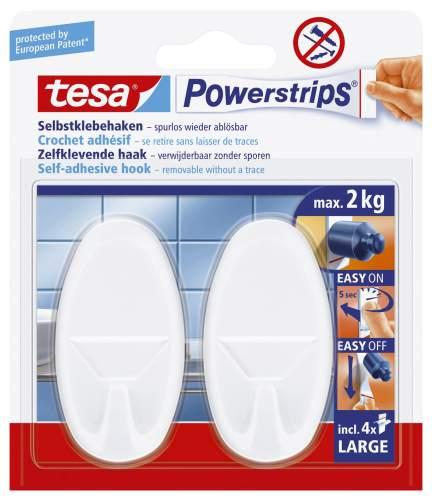 tesa Powerstrips Haken LARGE Oval, weiss