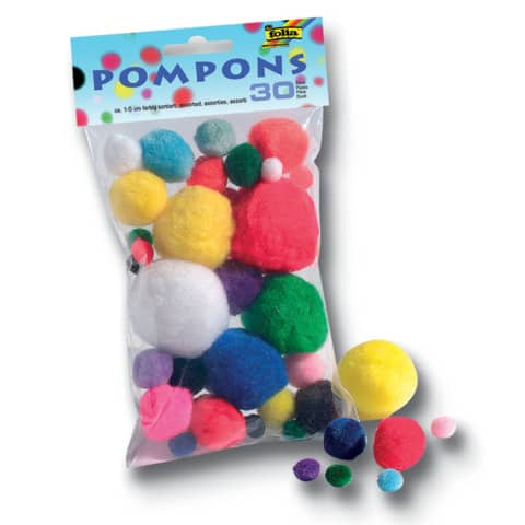 folia Pompons, 30 Stück, Größen und Farben sortiert