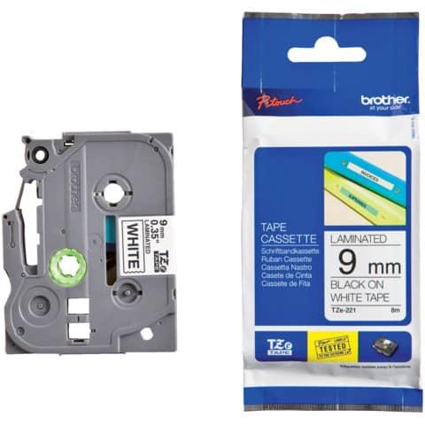 Brother Schriftbandkassette TZE-221 weiß/schwarz 9 mm