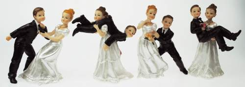 #4xDekofigur Brautpaar sort.