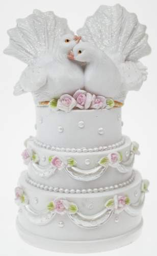 #4xDekofigur Taubenpaar auf Torte