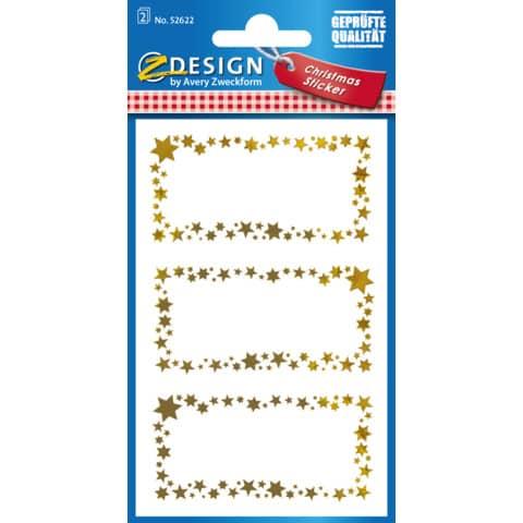 #10xAVERY ZWECKFORM Weihn.Geschenkaufkleber Sterne