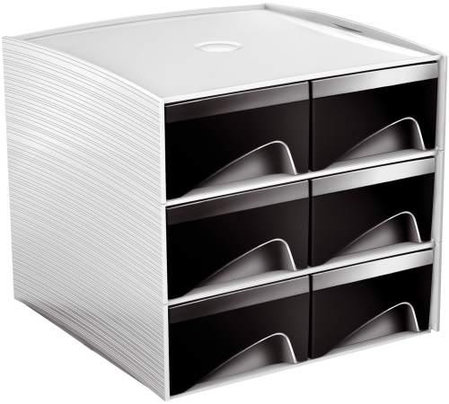 Schubladenbox 6 Laden grau/schwarz