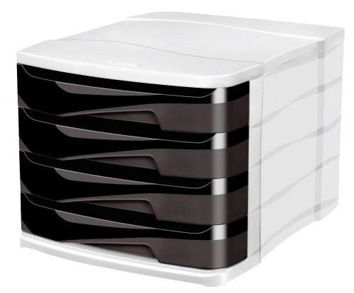 Schubladenbox Ellypse grau/schwarz