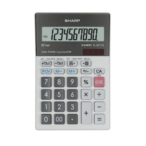 SHARP Tischrechner EL-M711G GY, Solar-/ Batteriebetrieb