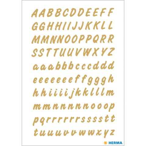 #10xEtikett Buchstabe  8mm A-Z transparent gold wetterfest