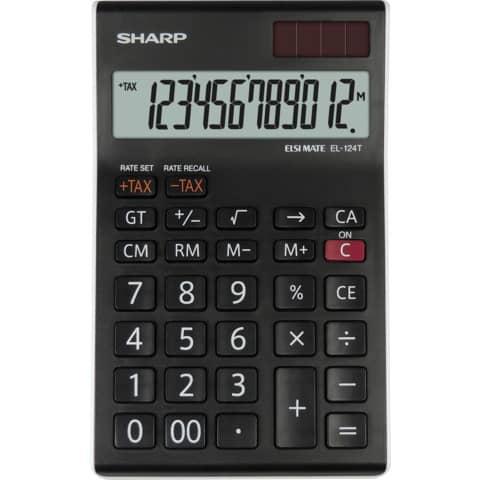 SHARP Tischrechner EL-124 TWH, Solar-/ Batteriebetrieb