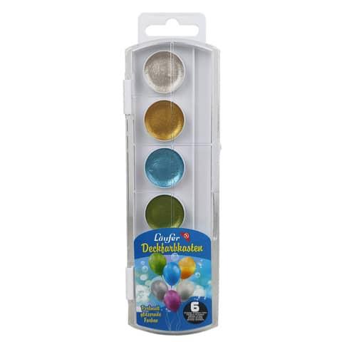 Läufer Deckfarbkasten, 6 Farben, aus Kunststoff