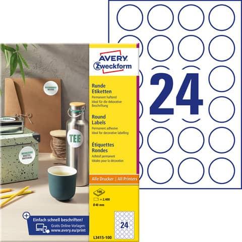 AVERY Zweckform Kennzeichnungs-Etiketten, Durchmesser: 4...