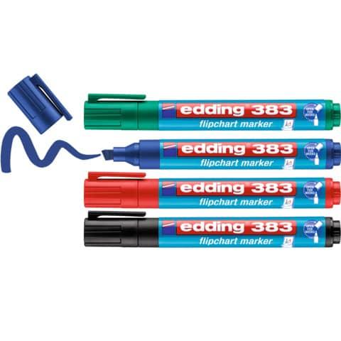 Edding Flipchart Marker Capp-Off 383 4Er-Etui Keilspitze