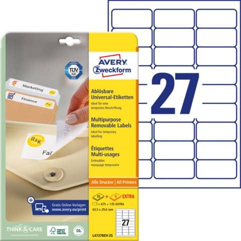 AVERY Zweckform Stick+Lift Etiketten, 63,5 x 29,6 mm, weiß