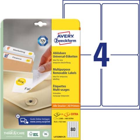 AVERY Zweckform Stick+Lift Etiketten, 35,6 x 16,9 mm, weiß
