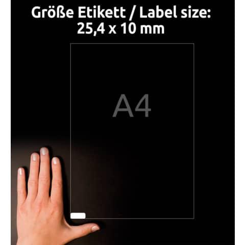 AVERY Zweckform Stark haftende Papier-Etiketten, 25,4x10 mm