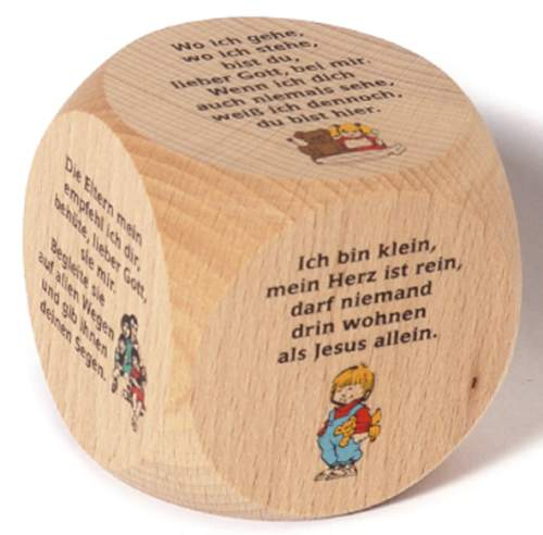 Gebetswürfel Ahornholz Kindergebete 6x6cm