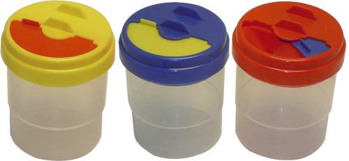 Wasserbecher Plastik mit Deckel 11cm farbig sortiert