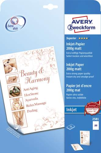 AVERY Zweckform Inkjet-Papier, DIN A4, 200 g/qm, weiß