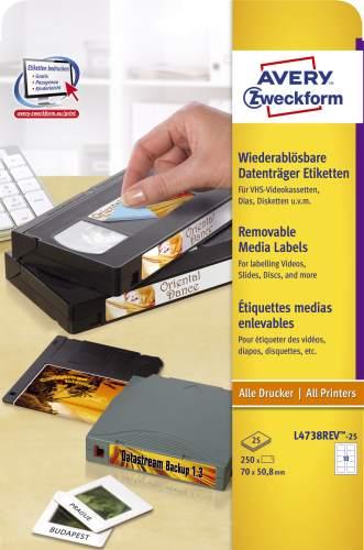 AVERY Zweckform Stick+Lift Disketten-Etiketten 3,5, weiß