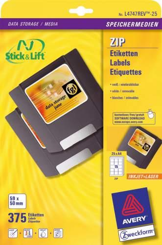 AVERY Zweckform Stick+Lift Etiketten für ZIP Disketten, ...