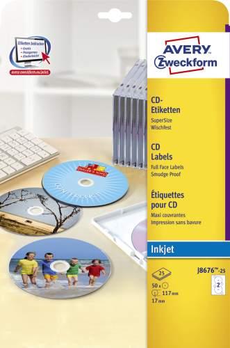 AVERY Zweckform CD-Etiketten SuperSize, weiß, matt