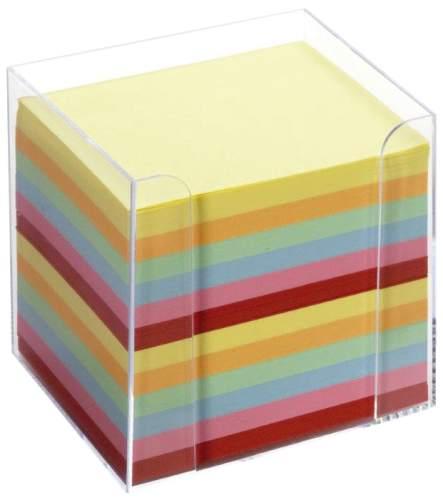 folia Zettelbox, Kunststoff, glasklar, Füllung: farbig