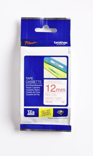 Schriftbandkassette TZE12mm rot auf weiß
