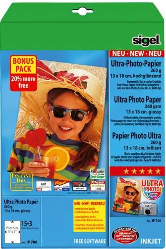 sigel Ultra-Foto-Papier, 13 x 18 cm, hochglänzend, 260 g/qm