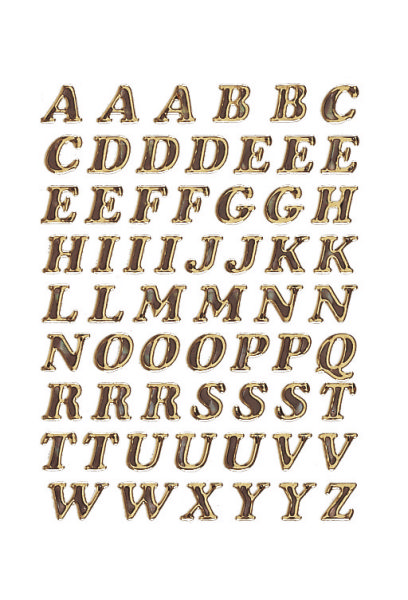 #10xEtikett Buchstabe  8mm A-Z schwarz gold Glitzer