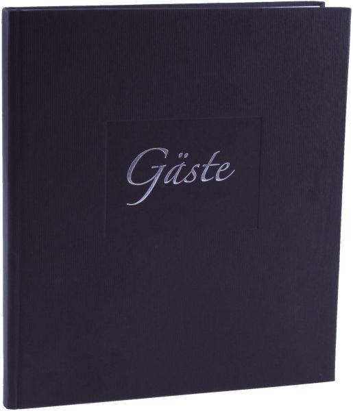 Gästebuch Seda schwarz Papier gerippt mit Silberprägung ...