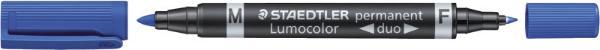 #10xLumocolor Duo Permanent Marker Blau 348-3