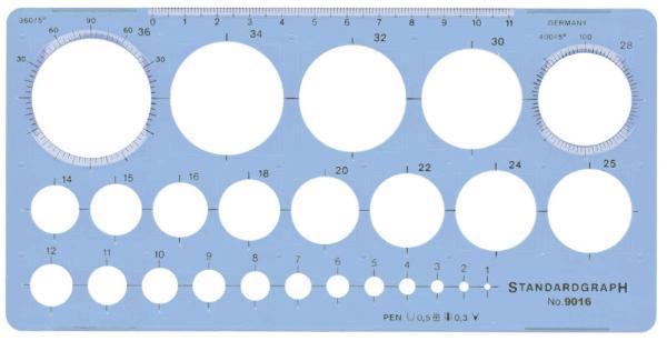 STANDARDGRAPH Kreisschablone mit 25 Kreisen blau