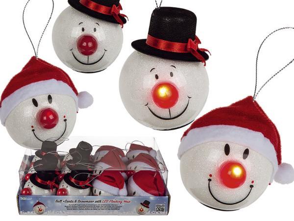 #12xBaumbehang Kugel Santa & Schneemann