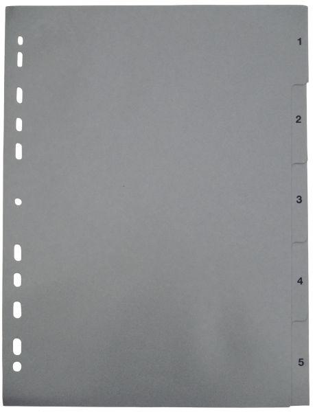 NEUTRAL Ordnerregister A4 1-5 grau