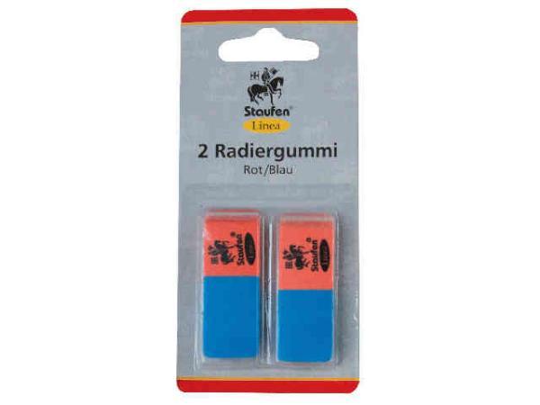 Radiergummi rot/blau 2-er Blisterkarte