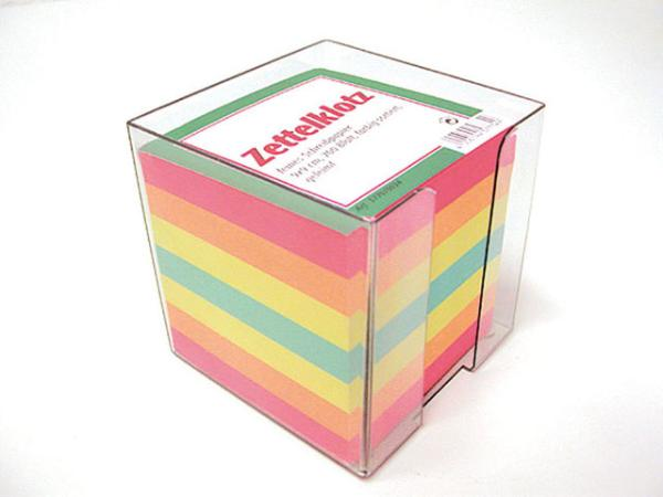 LANDRÉ Zettelbox, 90 x 90 mm, glasklar, Füllung: bunt