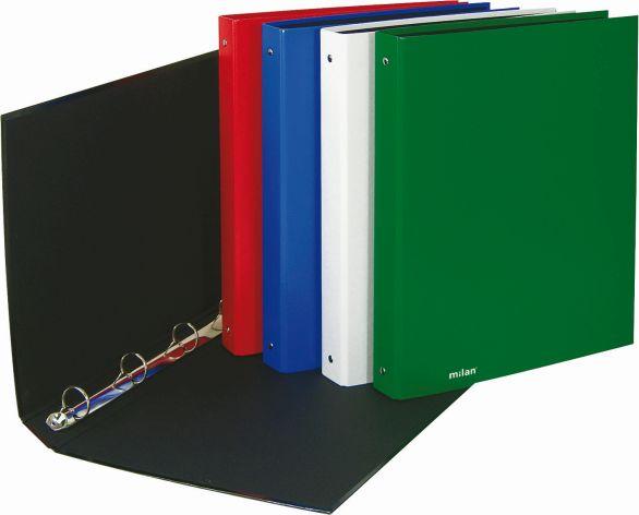 Milan Ringbuch A4 4Ring Reißmechanik schwarz PP-Folie  M...
