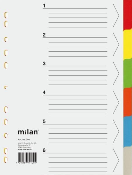 Milan Register A4 6-tlg Karton mit Deckblatt 794