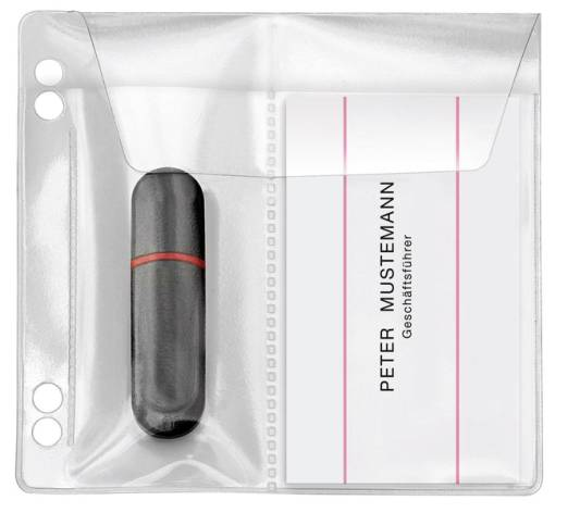 USB-Stick Hülle PVC 5ST seitlich mit Klappe + Abheftrand
