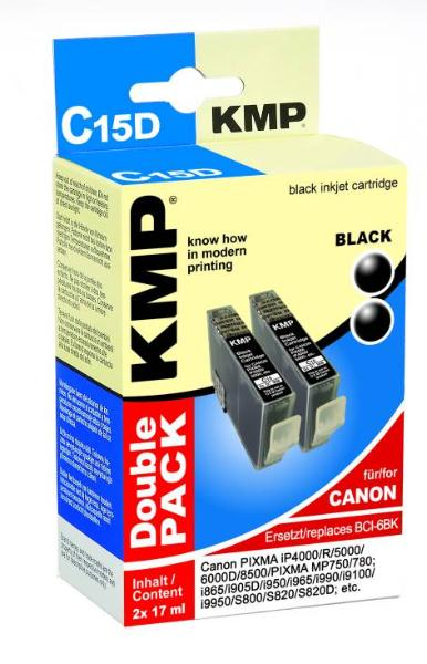 Tintenpatrone KMP C15D schwarz 2x17ml für Canon BCI-6BK ...
