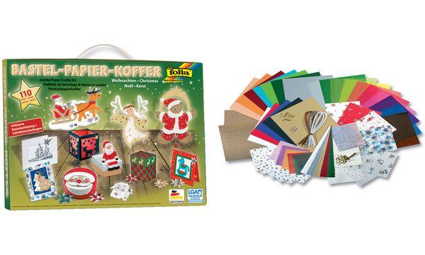 folia Bastelpapier-Koffer Weihnachten II, 110-teilig