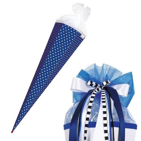 SET ROTH Bastelschultüte mit Muster, 850 mm, Sterne / bl...