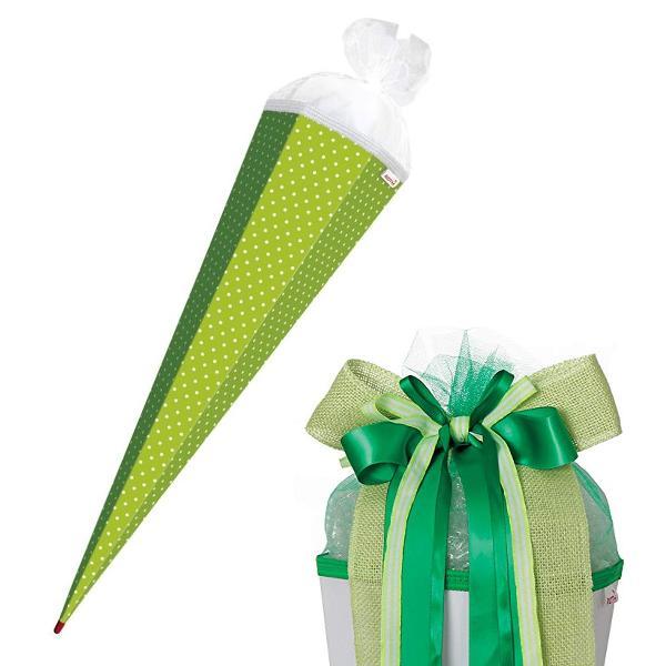 SET ROTH Bastelschultüte mit Muster 85cm Punkte / grün w...