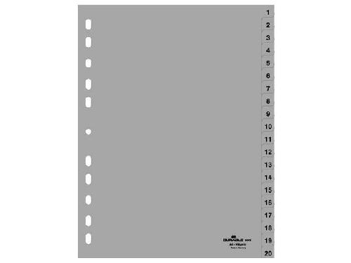 DURABLE Kunststoff-Register Zahlen A4, 20-teilig, 1 - 20