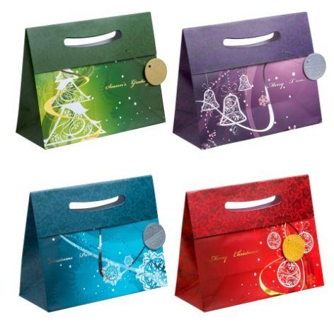 #12xGeschenktragetasche gross quer Weihnachten 4-fach so...