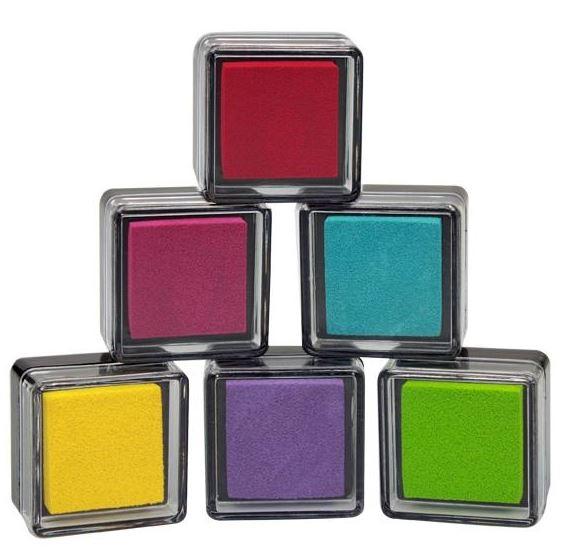 Stempelkissen 6 Farben sortiert 3x3x2cm im Display